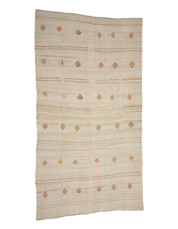 "Embroidered Vintage Hemp Kilim Rug - 6`7"" x 12`4"""