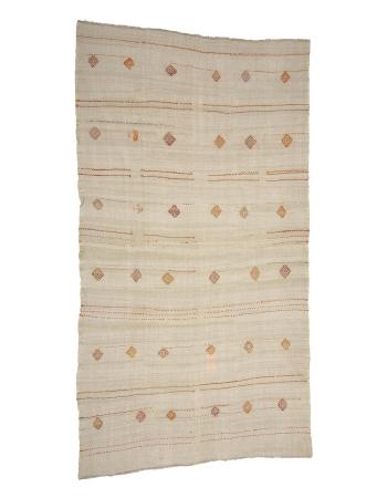 """Embroidered Vintage Hemp Kilim Rug - 6`7"""" x 12`4"""""""