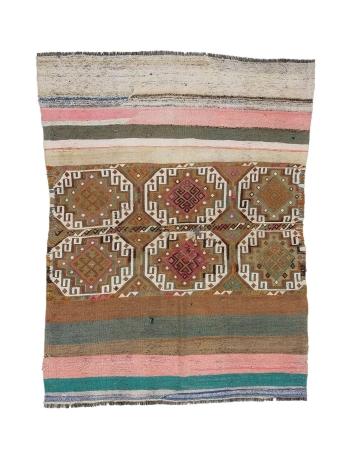 "Small Vintage Decorative Kilim Rug - 4`5"" x 5`7"""