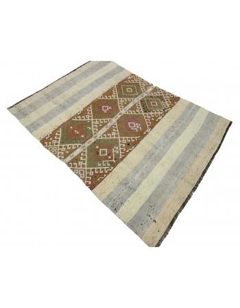 "Decorative Vintage Small Kilim Rug - 4`3"" x 5`9"""