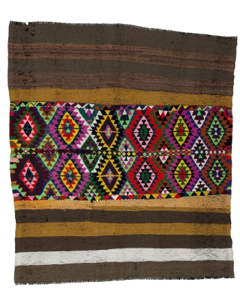 "Colorful Vintage Decorative Small Kilim - 4`7"" x 5`5"""
