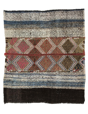 "Decorative Vintage Kilim Rug - 4`7"" x 5`1"""