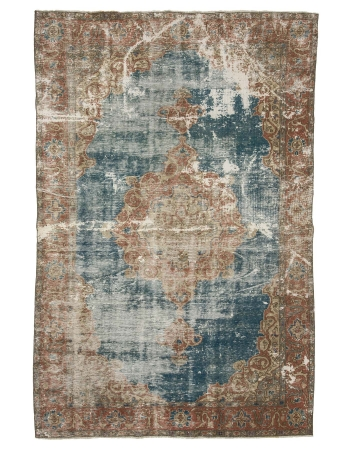 "Distressed Vintage Turkish Oushak Rug - 6`5"" x 9`8"""