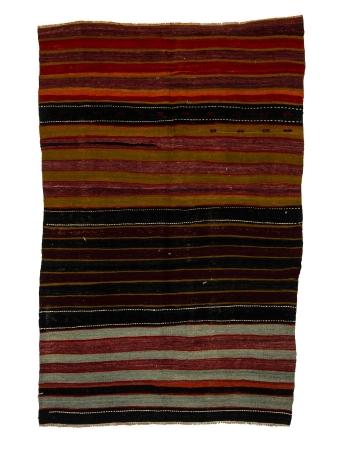 "Striped Vintage Turkish Kilim Rug - 4`0"" x 6`3"""