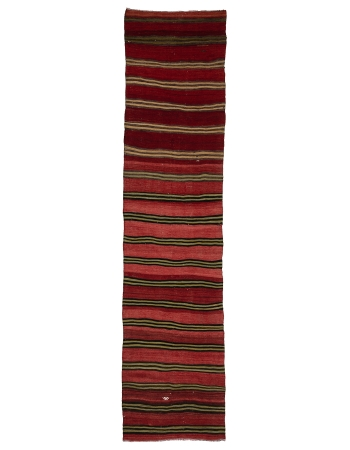 "Red Striped Vintage Kilim Runner - 3`1"" x 13`5"""