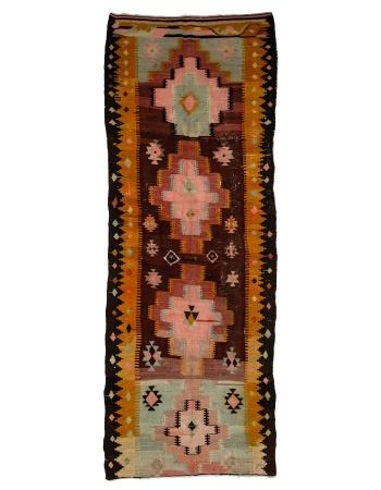 """Decorative Vintage Turkish Kilim Rug - 4`1"""" x 11`4"""""""