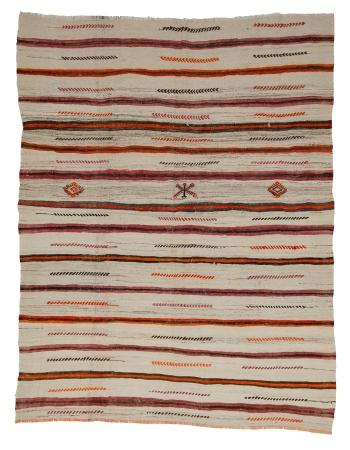 "Striped Wool Turkish Vintage Kilim Rug - 6`3"" x 8`4"""