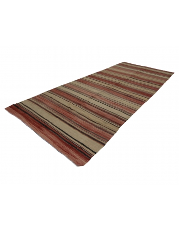 "Striped Vintage Wool Kilim Rug - 5`7"" x 12`6"""