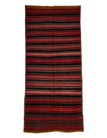 "Striped Wool Vintage Kilim Rug - 5`0"" x 11`0"""