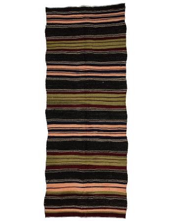 "Vintage Striped Turkish Kilim Rug - 4`10"" x 12`6"""