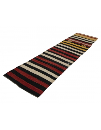 "Striped Vintage Kilim Runner - 2`10"" x 9`10"""