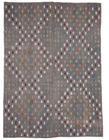 "Embroidered Cotton Vintage Kilim Rug - 6`2"" x 8`6"""