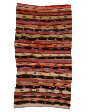 "Colorful Striped Vintage Kilim Rug - 6`8"" x 11`8"""