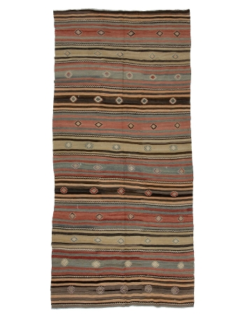 "Striped Vintage Wool Turkish Kilim - 5`0"" x 10`6"""