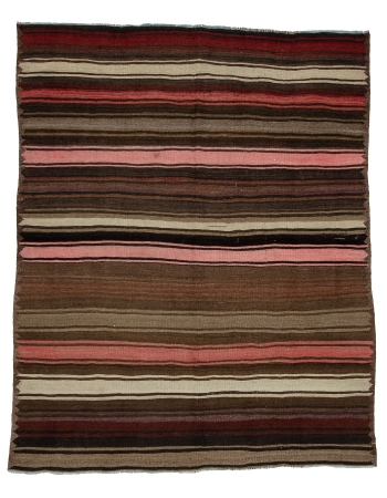 "Striped Wool Vintage Kars Kilim Rug - 6`3"" x 7`9"""