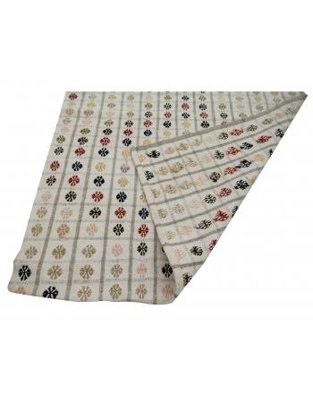 """Embroidered Vintage Turkish Kilim Rug - 3`3"""" x 9`1"""""""