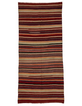 "Striped Vintage Wool Kilim Rug - 5`0"" x 11`2"""