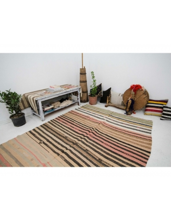 "Striped Wool Vintage Kilim Rug - 5`10"" x 7`7"""