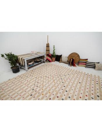"Embroidered Vintage Decorative Kilim Rug - 7`1"" x 11`0"""