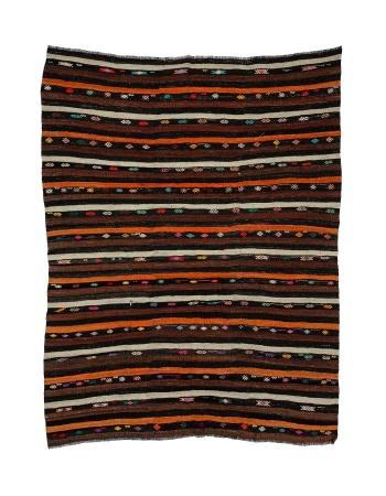 "Striped Vintage Goat Hair Kilim Rug - 7`8"" x 10`2"""