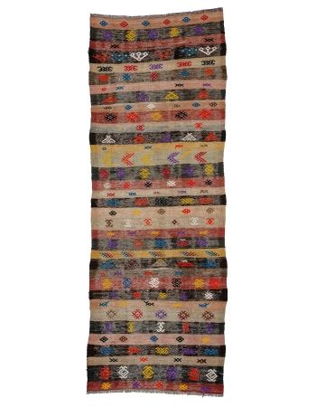 "Decorative Vintage Turkish Kilim Runner - 3`3"" x 8`8"""