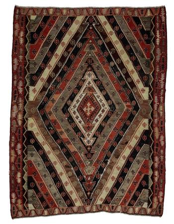 """Large Vintage Turkish Kilim Rug - 9`10"""" x 13`5"""""""