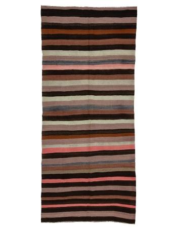 "Striped Vintage Wool Kilim Rug - 4`9"" x 10`8"""