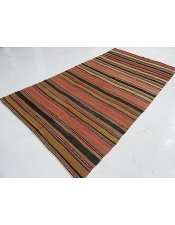 "Striped Vintage Turkish Wool Kilim - 6`0"" x 11`6"""