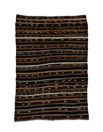 "Striped Vintage Goat Hair Kilim Rug - 7`0"" x 10`0"""