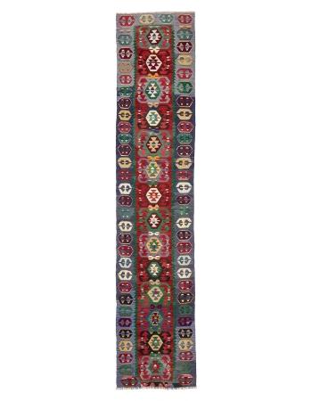 "Colorful Decorative Turkish Kilim Runner - 3`0"" x 14`9"""