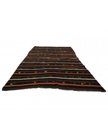 "Striped Vintage Turkish Kilim Rug - 7`5"" x 10`6"""