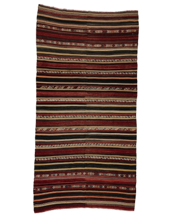 "Wool Striped Turkish Kilim Rug - 6`1"" x 12`2"""