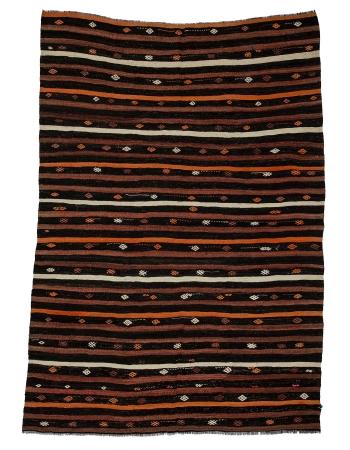 "Striped Vintage Turkish Kelim Rug - 7`0"" x 10`4"""