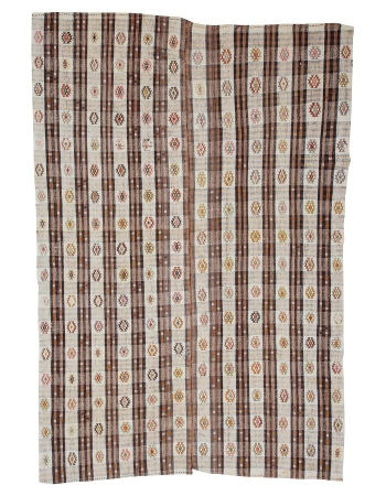 "Embroidered Vintage Cotton Kilim Rug - 6`10"" x 10`4"""
