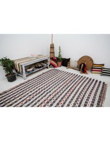 "Cotton Vintage Turkish Embroidered Kilim - 6`1"" x 8`8"""