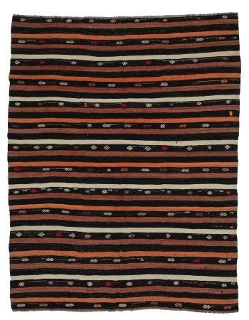 "Striped Vintage Turkish Kilim Rug - 7`7"" x 10`0"""