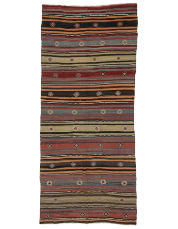 "Handwoven Vintage Striped Kilim Rug - 4`10"" x 11`1"""