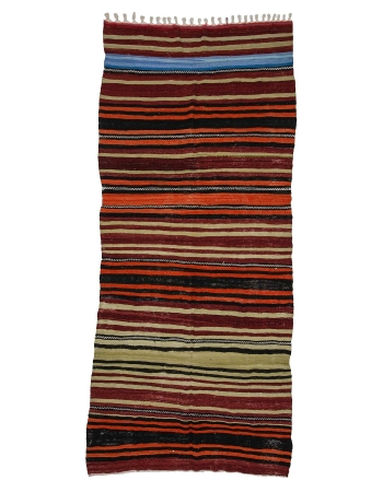 "Striped Handwoven Vintage Kilim Rug - 5`7"" x 12`2"""