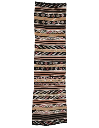 "Embroidered Vintage Turkish Kilim Runner - 3`1"" x 11`8"""