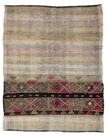 "Small Vintage Decorative Kilim Rug - 3`10"" x 4`10"""