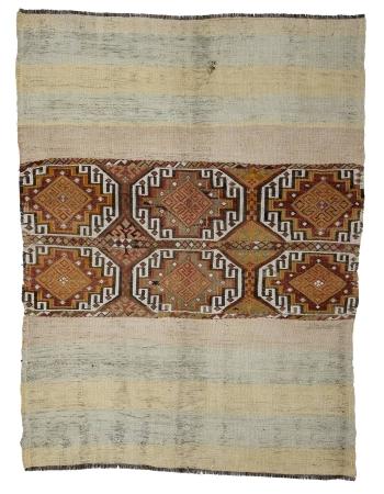 """Vintage Modern Turkish Kilim Rug - 4`6"""" x 6`0"""""""