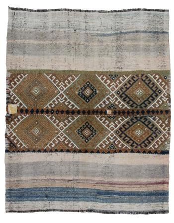 "Decorative Vintage Small Turkish Kilim Rug - 4`3"" x 5`4"""