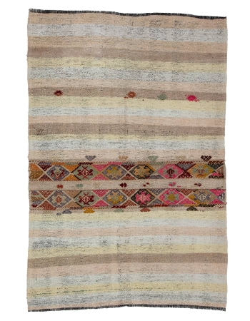 "Vintage Unique Decorative Kilim Rug - 4`2"" x 6`3"""