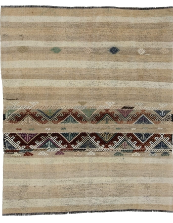 "Vintage Small Decorative Kilim Rug - 4`2"" x 5`1"""