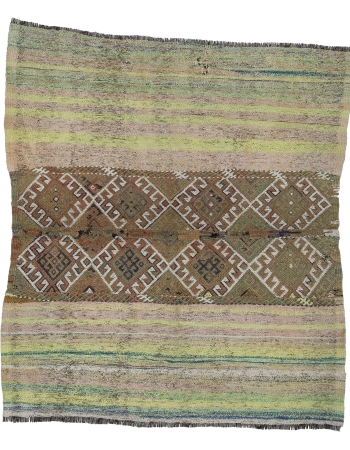 "Decorative Vintage Turkish Kilim Rug - 4`4"" x 4`11"""