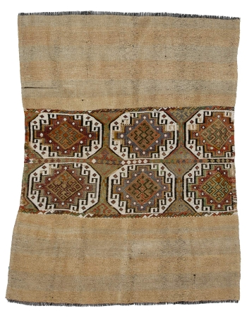 "Vintage Unique Turkish Marash Kilim - 4`9"" x 6`1"""