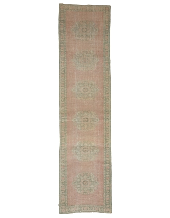 "Washed Out Vintage Turkish Runner Rug - 2`8"" x 10`8"""