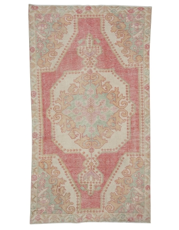 "Washed Out Vintage Worn Rug - 4`1"" x 7`3"""