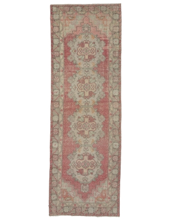 "Distressed Vintage Turkish Runner Rug - 3`0"" x 9`0"""