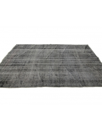 "Gray Vintage Overdyed Turkish Carpet - 4`11"" x 8`10"""